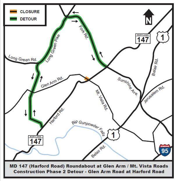 glen-arm-at-md-147-detour-map-phase-2
